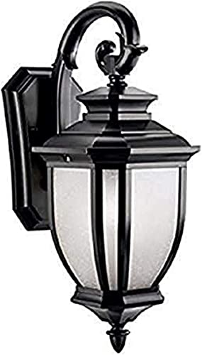 "new arrival Salisbury 19.5"" 1 Light Outdoor Wall Light with White new arrival Linen Glass new arrival in Black online sale"