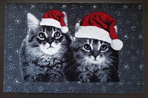Trendstern Trendprodukteshop Felpudo, diseño de gato navideño