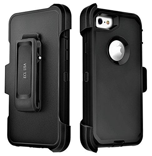 ECL 이글 아이폰 7 아이폰 8에 대한 커버 케이스 벨트 클립 킥 스탠드 홀스터와 내장 화면 보호기 (블랙 | 블랙)