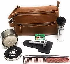 GBS Men's Shaving Set Travel Kit Dopp Toiletry Bag, Pure Badger Travel Shave Brush Silver Case Chrome Butterfly Double Edge Razor, 7