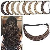 SEGO Diadema Trenza Elástica Mujer Pelo Sintético Se Ve Natural [Castaño Oscuro] Extensiones de Cabello Accesorios Braid Hair Headband (L-3.8cm)