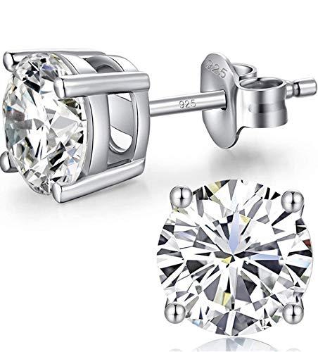 Pendientes de diamantes para mujer y hombre, plata de ley 925, con circonita auténtica, chapado en oro blanco, 6 mm