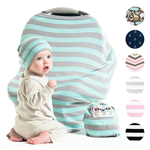 Cool Beans Stretchy Baby Car Seat Canopy and Breastfeeding Nursing Cover - Multiuse - Covers Carseat, High Chairs, Shopping Carts - Bonus Infant Baby Beanie and Bag (Blue and Grey)