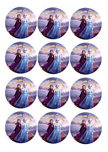 12 Muffinaufleger ca. 6 cm zum selbst ausscheiden, Cupcakes Muffinsbild Geburtstag Frozen Die Eiskönigin Fondant 0236m