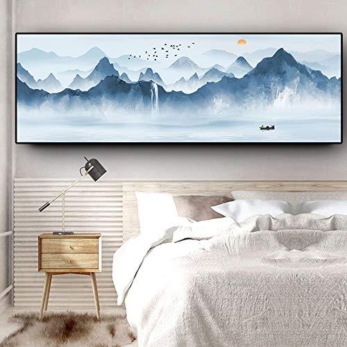 wZUN Pintura Abstracta en Lienzo de Paisaje con Lago y Barco de montaña, Carteles escandinavos e Impresiones, Mural para Sala de Estar, 50x150cm