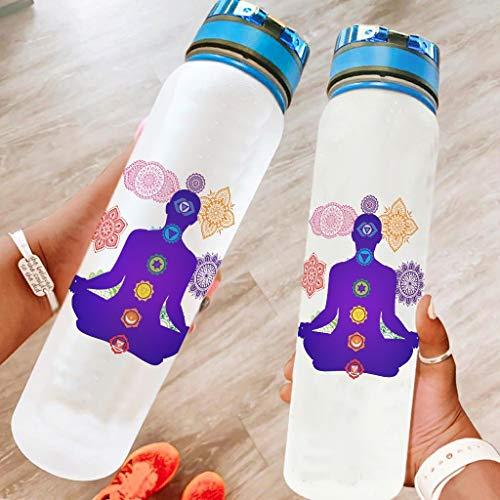 Niersensea Botella deportiva de 7 chakras, sin BPA, Tritan, botella de plástico para deporte, fitness, bicicleta, exterior, color blanco, 1000 ml
