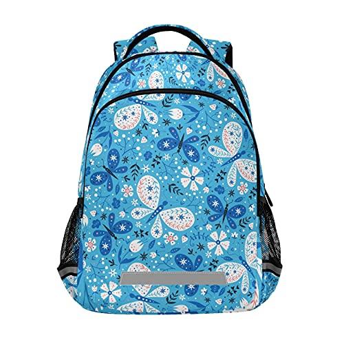 Mochila para ordenador portátil para niñas y niños escolares, duradera, diseño de mariposas, color azul, con tira reflectante de 42,4 x 29,5 x 17,5 cm