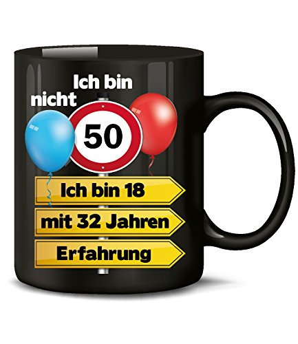 Ich bin nicht 50 ich bin 18 mit 32 Jahren Erfahrung Tasse Becher Kaffeebecher Kaffeetasse Geburtstag Geschenk zum Opa Oma Geburtstagsgeschenk für Frauen Männer Mann Frau geburtstagsdeko Deko Mama Papa