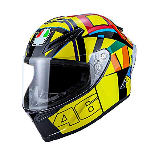 HNLong Casco de motocicleta casco completo cubierta completa con ala trasera hombres y mujeres casco de carreras de locomotora casco todoterreno-amarillo_L