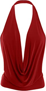 Womens Lightweight Sexy Low Cut Halter Tunic Top with Stretch