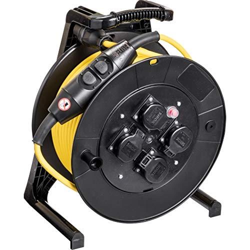 JUMBO® L Kabeltrommel PRCD-S-Personenschutzschalter Leitungsfarbe gelb, Querschnitt 3 x 1,5 mm², Länge 40 m