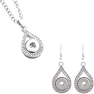 12mm Snap Charm Necklace Earrings Jewelry Set