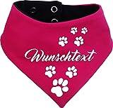 KLEINER FRATZ beidseitiges Multicolor Hunde Wende- Halstuch (Fb: pink-Navy) (Gr.1 - HU 27-30 cm) mit Ihrem Wunschtext