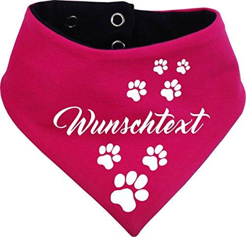KLEINER FRATZ beidseitiges Multicolor Hunde Wende- Halstuch (Fb: pink-Navy) (Gr.3 - HU 36-44 cm) mit Ihrem Wunschtext