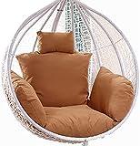 Silla de huevo Almohadilla suave Cojín con reposacabezas y reposabrazos, cojines de la silla de hamaca, reemplazo de la silla de swing de colgar impermeable, ruedas de jardín resistentes al sol al air