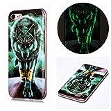Miagon Leuchtend Luminous Hülle für iPhone 7 Plus/8 Plus,Fluoreszierend Licht im Dunkeln Handyhülle Silikon Case Handytasche Stoßfest Schutzhülle,Wütend Wolf