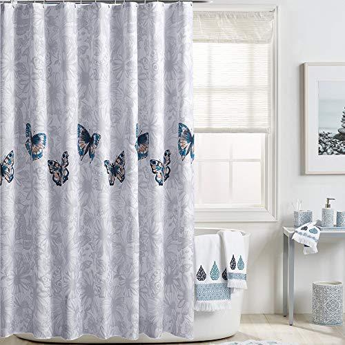 i@HOME Duschvorhang, Anti-Schimmel, Wasserdichter, Waschbar Anti-Bakteriell Duschvorhäng aus Polyester Badvorhang mit 12 Duschvorhängeringen (Schmetterling, 180 x 200 cm)