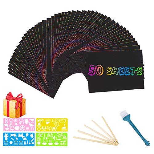 ARPDJK Kratzbilder Set für Kinder, 50 Blatt Regenbogen Kratzpapier Block zum Zeichnen und Basteln, Scratch Art Paper mit 5 Holzstiften und 4 Schablonenlinealen und 1 Pinsel