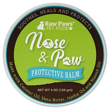 Raw Paws Natural Dog Nose Balm 4-oz - Dog Snout Balm Treats Dry Chapped Cracked Noses - Snout Soother Dry Nose Relief for Dogs & Cats - Dog Nose Butter Heals & Protects - Cat & Dog Nose Moisturizer