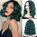 PORSMEER Pelucas Rizadas Cortas Ombre verde Bob para mujer Peluca de pelo sintético ondulado natural y rizado (verde)