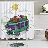 vhg8dweh Juegos de Cortinas de baño con alfombras Antideslizantes, Camper Bus Cargado de Equipaje Crucero Campo Hippie Van Activity Multicolor,con 12 Ganchos