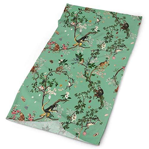 Zome Lag Halsgamas, multifunctionele hoofddoek, hoofdband, sjaal, slang, Monkey World Green Flower Plant winddichte gezichtsbedekking, sporthoofddeksel, stofdichte slangsjaal