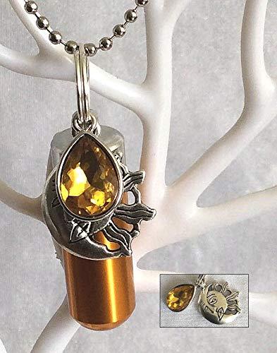 KGS Timeless Memorials The Birthstone Collection - Urna de luto Conmemorativa para Cenizas de cremación con Dije de noviembre (topacio) adjunta y Bolsa de joyería Gratis y Kit de Relleno