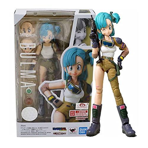 zzdgfc Dragon Ball Z SHF Robot Super Saiyan Bulma Acción PVC Colección Modelo Juguete Anime Figura Juguetes para Niños