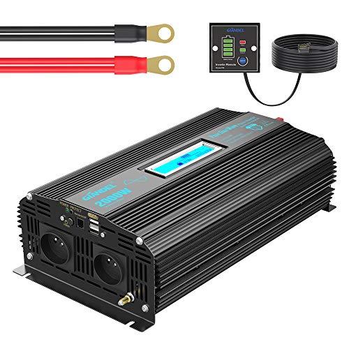 Convertisseur 12V 220V Pur Sinus 2000W Onduleur Onde sinusoïdale Pure Transformateur 230V 240V avec Écran LCD 2x2.4A USB Télécommande avec 24 Mois de Garantie GIANDEL