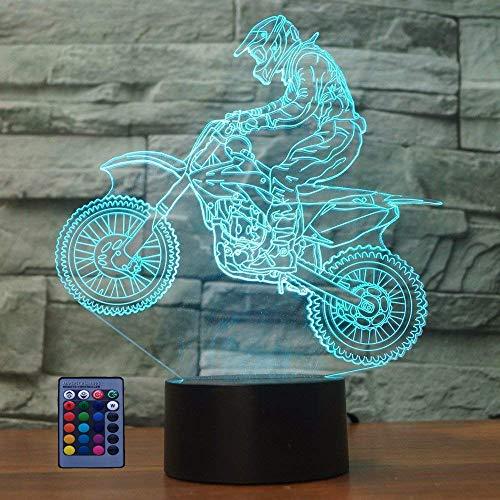 ilusión Optica 3D Moto Lámpara Luz Nocturna 7/16 Colores Control Remoto USB Power Juguetes Decoración Navidad Cumpleaños Regalo