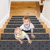 CrystalMX Alfombra Antideslizante peldaños de Escalera, Adhesivos alfombras para escaleras, Seguridad para niños Mayores y Perros, 76 x 20 cm (Gris Mediano, Juego de 15)