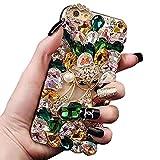 Ostop Custodia Diamante per Samsung Galaxy Note 9 Cover Brillante 3D Strass Cristallo Fatto a Mano,Custodia Ragazza Moda Dura PC Indietro Caso,Scintillio Animale Volpe Lucida Cover,Verde