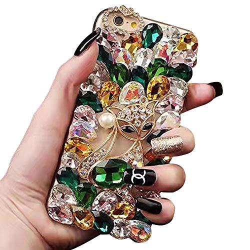 Ostop Bling Diamant Hülle für Samsung Galaxy S20 FE Kristall Strass Handyhülle Mädchen Frauen 3D Fuchs Tier Glänzend Kristall Case,Durchsichtig Voll Steine Hard PC Schutzhülle,Grün