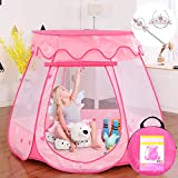 Gentle Monster Pop Up Princess Tent, Pink Princess Castle for Girls Fairy Play Tents for Kids, Portable Playhouse Toy Suitable for Indoor or Outdoor Use 49 X 33 Large