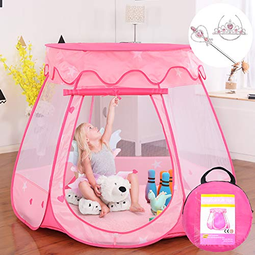 Gentle Monster Pop Up Princess Tent, Pink Princess Castle for Girls Fairy Play Tents for Kids,...