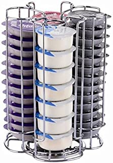 EXZACT Coffee Capsule Holder, Compatible with Tassimo Capsules (52pcs) – Rotating Pod Tower Rack Creme, Latte EX-TS084-52