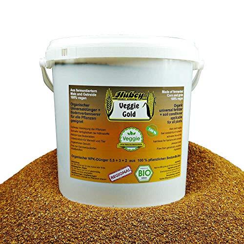 Hubey Veggie Gold - 5 kg Eimer - organischer NPK-Dünger fermentiert - mit EM Effektiven Mikroorganismen zum Humusaufbau - Bokashi Ferment - Langzeitdünger - Bodenaktivator