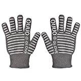 OUUO 932°F Extreme Heat Resistant Kitchen BBQ Gloves Oven Mitts With Fingers For Cooking Grilling or Baking EN407 Certified(2 Gloves, Grey)