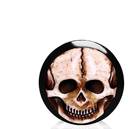 16mm (5/20,3cm) Organic Horn und Sattel Sattel Plug Flesh Tunnel Ohr Gauge Ohrring mit Knochen Inlay Totenkopf