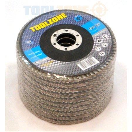 Toolzone Disco di levigatura a grana fine commerciale (4 1/2 'pollici 40) 115 mm Confezione da 12