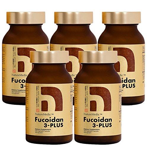 NatureMedic Fucoidan 3-Plus Brown Seaweed Immunity Supplement with Three Types of High Purity Fucoidan Organic Mekabu Fucus Mozuku Agaricus Made in Japan (Vegetable Capsule, 5 Bottles)