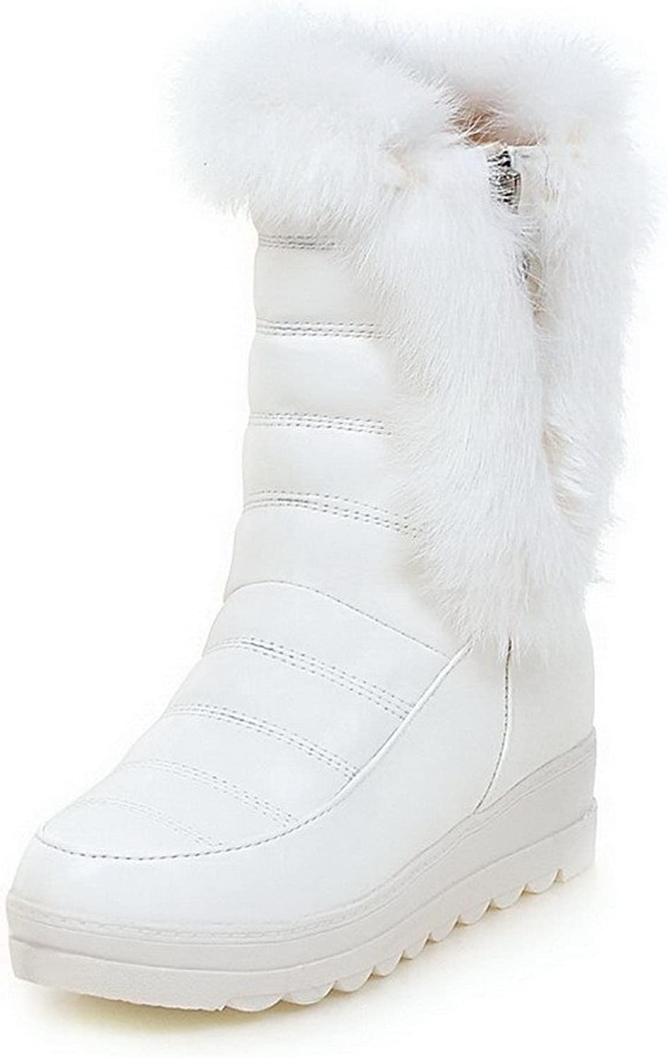 WeiPoot Women's Round Closed Toe Low-top Kitten-Heels Solid PU Boots