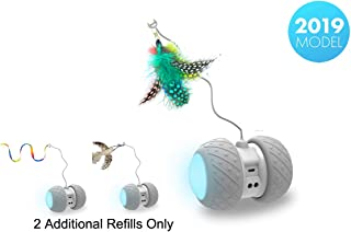 PetDroid Boltz Robotic Cat Toy Interactive,Attached with Feathers/Birds/Mouse Toys for Cats/Kitten,Large Capacity Battery/All Floors Available (Grey)