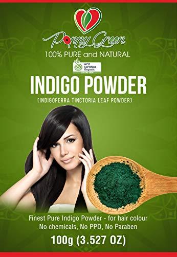 Indigo Blattpulver für das Haar 100% reine und natürliche Indigofera Tinctoria 100g