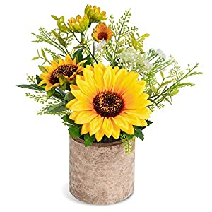 COCOBOO Artificial Sunflower Potted Plants Fake Flower in Pots for Wedding Party Indoor Decor Centerpiece