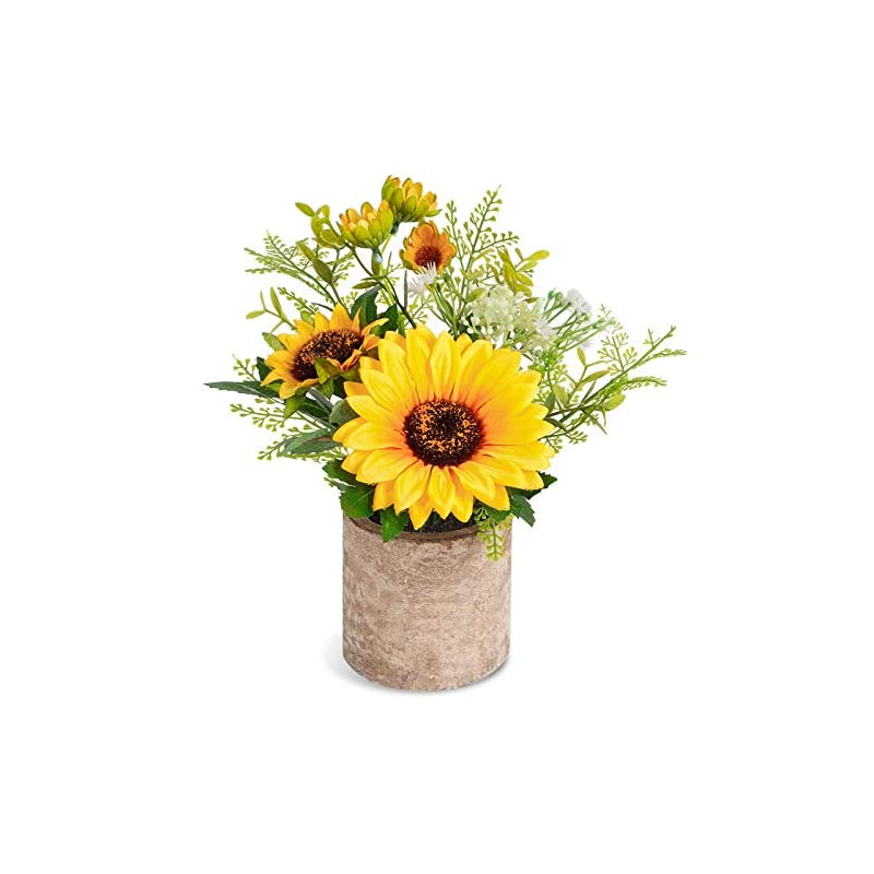 silk flower arrangements cocoboo artificial sunflower potted plants yellow fake flower in pots, summer decorations for home bathroom kitchen rustic table centerpiece decor