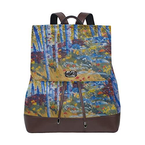 Damen PU-Leder Malerei Aspens Rocky Mountains Rucksack Geldbörse Reise Schule Schultertasche Casual Daypack
