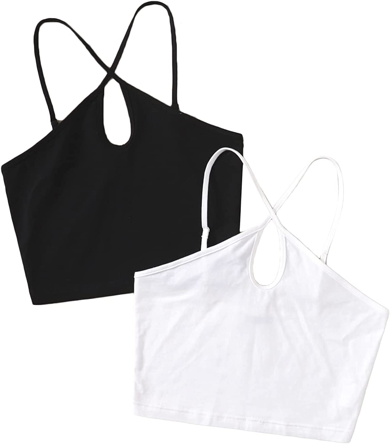 Milumia Women's 2 Packs Cut Out Front Criss Cross Halter Top Cami Crop Top Two Pieces