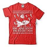 Silk Road Tees メンズ ロケットマンおかしいTシャツ醜いセータースタイルTシャツ北朝鮮おかしい政治キム・ブームのTシャツ 3X-L サイズ 赤