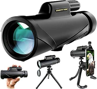 Monocular Telescope- 8x42 High Power HD with Smartphone Holder & Flexible Tripod- Waterproof FMC BAK4 Prism for Bird Watching, Camping, Hiking, Hunting- Adults & Kids- MOTREK
